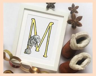 "M is for Manatee. Animal Alphabet illustration 8""x10"" mounted print"