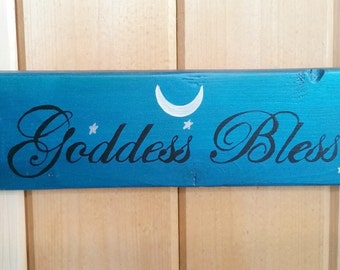 Goddess Bless Sign- Triple Moon Sign- hand painted reclaimed wood sign- Pagan Gift- Pagan Wall Hanging- Witch Decor- Pagan Decor- Yule Gift
