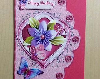 Flowery Birthday Card * Handmade Card * Birthday Card For Her * Pink Birthday Card * Butterfly Birthday Card * Personalised Birthday Card