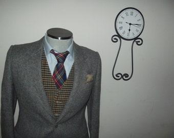 Vintage Herringbone Tweed Mens Suit Jacket / 100% Shetland Wool Sports Coat / Gray Blazer / Size 38 R / Medium / Med / M / Union Made / Vtg