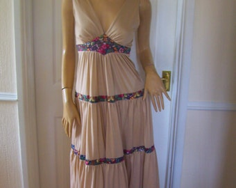 Authentic Vintage Amazing Tiered Gypsy/Boho/Festival  Maxi Dress sz 8