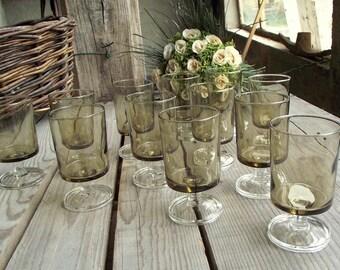Vintage Smoky Glasses - Set of 12 - Luminarc Cavalier - Vintage Stemmed Glasses - Smoky Wine Glasses - French Vintage Glassware - 1970s