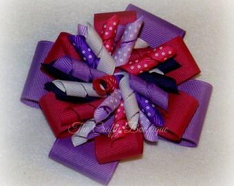 Hot Pink & Purple Bow ~ Purple Korker Bow ~ Hot Pink Korker Bow ~ Corkscrew Bow ~ Large Polka Dot Bow ~ Large Purple Bow ~ Headband Hair Bow