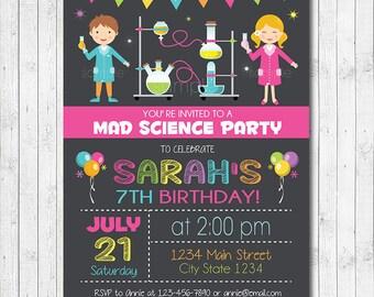 Science invitation, Science invite, Science birthday, Mad science birthday, mad science invite, scientist party, Printable, Girls Invite