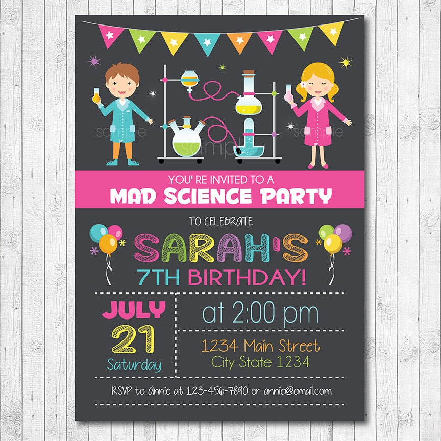 Science invitation Science invite Science birthday Mad