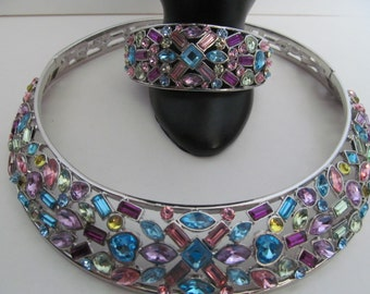 Multi crystal necklace and bangle set, silver crystal set, statement necklace and bangle, crystal choker necklace set