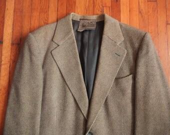 Vintage 1940s Armin Ketelsen Bespoke German Green Tweed Patch Pocket Blazer Sport Coat 40