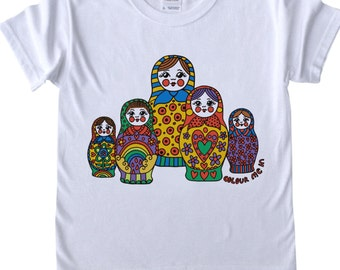 Girls T shirt to Colour in Russian Dolls Design Doodle Colouring in Art Fabric Pens Tee Shirts Fun Activity for Kids