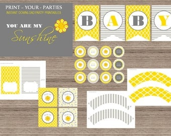 You Are My Sunshine Baby Shower Printable Party Package - INSTANT DOWNLOAD