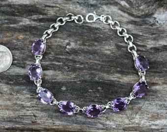 Amethyst Bracelet - Amethyst Birthstone bracelet - Genuine Amethyst - Sterling silver - Amethyst Bracelet - Facetled Amethyst Bracelet -