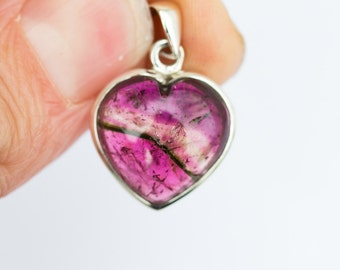 Watermelon Tourmaline Heart Pendant -  Pink Tourmaline Heart - Tourmaline Necklace - Heart Shaped Pink Tourmaline - Pink Tourmaline necklace