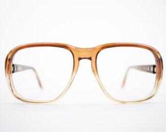 Vintage 70s Aviator Eyeglasses   Clear Brown Aviator Glasses   NOS 1970s Aviator Eyeglass Frame   Deadstock Eyewear  - Hanover Brown Fade
