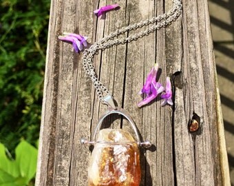 Raw citrine pendant necklace on sterling silver chain