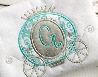 Princess Carriage Applique - Carriage Applique Design - Princess Applique Design - Embroidery Design - Applique Design - Monogram Frame