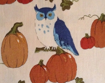 One Half Yard of Fabric Material - Fall Owls