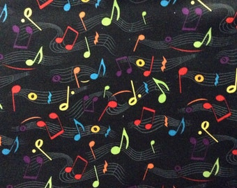 One Half Yard of Fabric Material - Color Music Notes and Music