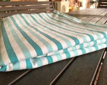 1970's Vintage Aqua and White Stripe Single flat  Bed Sheet