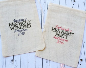 Hens Night, Bachelorette Hangover Kit, Survival Kit, Party Bags, Recovery Kit, Muslin Party Favor Bags