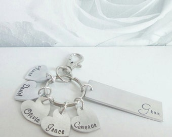 Grandma/Grandchildren Hand Stamped Keyring, family keychain, name keyring, custom name metal keyring