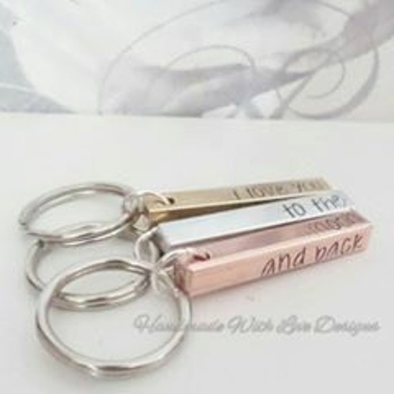 Hand stamped Personalised Keying, 4 sided bar, Aluminium, Brass Copper, name keyring, quote, custom