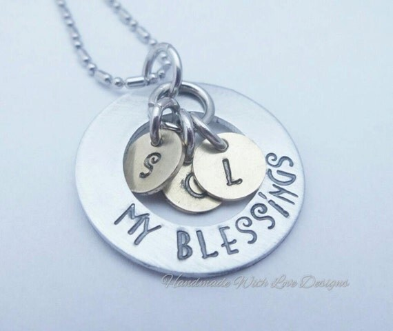 Washer Initial mixed metal necklace, my blessings, names, personalised, custom, handstamped,, initials, pendant,
