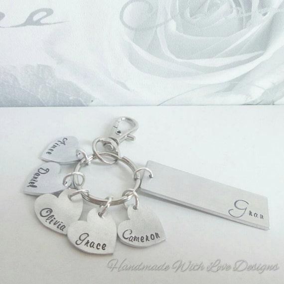 Grandma/Grandchildren Hand Stamped Keyring, family keychain, name keyring, custom name metal keyring