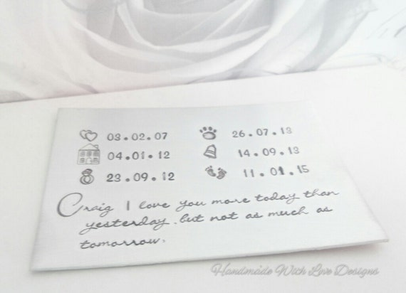Personalised Wedding Anniversary Gifts Nz : ... , Hand stamped, Personalised custom wedding anniversary gift present