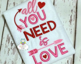 All you Need is Love Shirt or Bodysuit, Girl Valentine Shirt, Valentines Day, Valentine Shirt, Love Shirt, All you need is Love