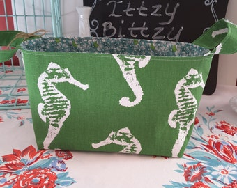 SALE!!!  Seahorse green beach fabric basket