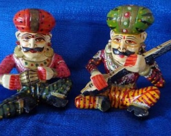 Vintage Indian Decor,Traditional Hand Painted Wooden Rajasthani Indian Musician figurines, Decor From India,Musician Statues