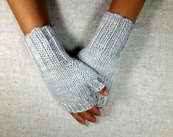Fingerless Gloves for Kids, light grey, 4 to 6 years, woolen arm warmers