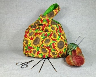 Project Knitting Bag with sunflowers, green yellow, crocheters bag, reversible bag