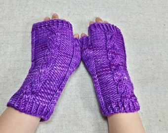 Fingerless Gloves for Kids, violett, arm warmers, handpainted wool merino, one of a kind