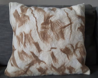 handmade felted cushion with opussum wool