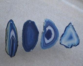 NEW! Brazilian Blue agate slice, ONE HOLE - agate slice pendant blue agate stone slice