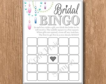 Bridal Bingo - Chandelier - Instant PDF Download Printable File - Wedding Engagement Hen Birthday Bridal Shower Party
