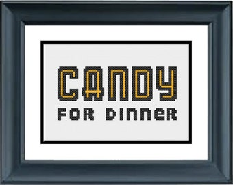 Candy For Dinner - Unbreakable Kimmy Schmidt - PDF Cross-Stitch Pattern - Netflix