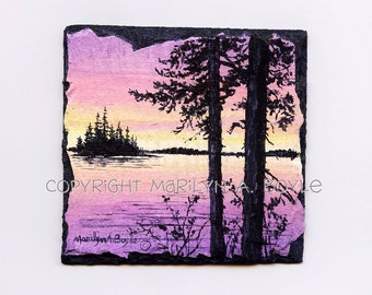 HAND PAINTED SLATE; pink and mauve sunset, trees, island, lake, scene, miniature painting, original art, retirement gift