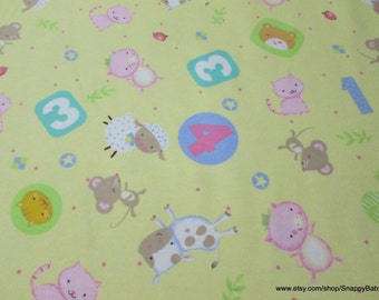 Flannel Fabric - Nursery Rhyme Tossed Animals Yellow - 1 yard - 100% Cotton Flannel