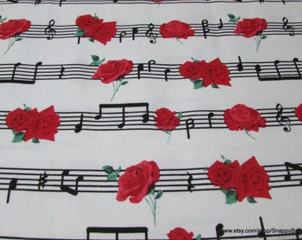 Flannel Fabric - Red Rose Music - 1 Yard - 100 Percent Cotton