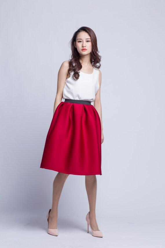 burgundy pleated midi skirt cotton tutu skirt