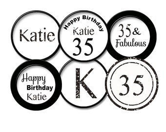 35th birthday Black Glitter 35th cupcake topper 35th favor tag / 35th party 35  printable digital