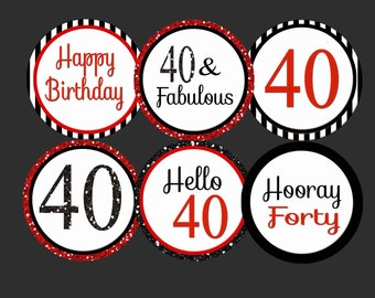 40th Birthday Cupcake 40th cupcake  Toppers Red Black Red 40th birthday 40th party  40th favor tag 40th stickers, 40th party  40 printable
