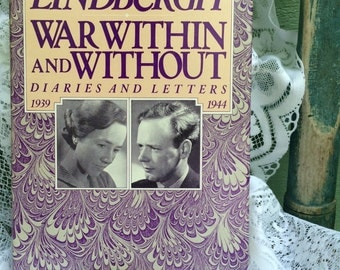 Anne Morrow Lindbergh,War Within and Without,Diaries and Letters of Anne Morrow Lindbergh,charles lindbergh,vintage book,purple book