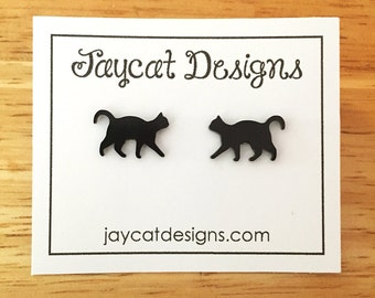 Black Cat Earrings, Cat Silhouette Stud Earrings