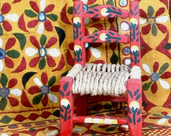 Vintage--Red Doll Chair-Folk Art- Painted-Wood-Straw-Chair-