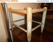 Save 25% Today Very Old Cane Top Wooden Foot Stool with Vintage Paint 14x12x13