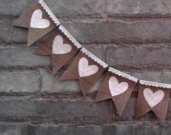White Hearts Burlap Banner with lace – Rustic  Wedding banner, rustic home decor, Photo-prop