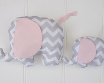 Baby Elephant Plush Toy in Grey Chevron and Pink Ears