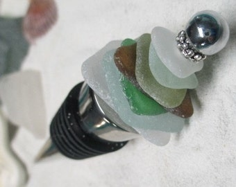 Sea Glass Wine Bottle Stopper
